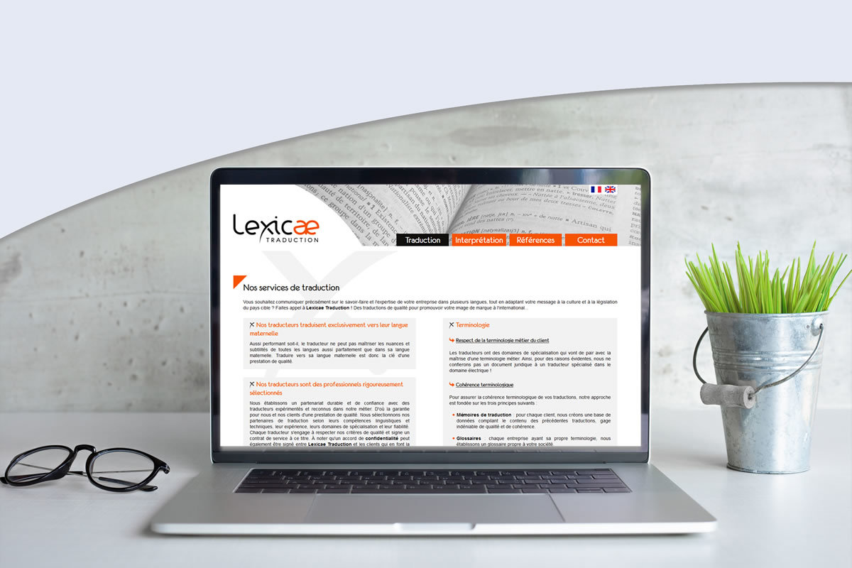 Site vitrine pour Lexicae Traduction